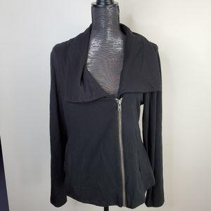 Dalia Spread Collar Zipper Cardigan in Black